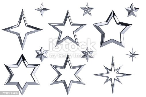 istock 12 silver stars isolated with clipping path 520860407