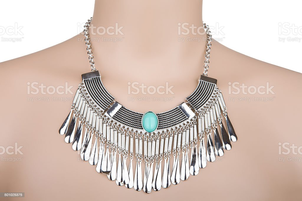 Silver statement necklace royalty-free stock photo