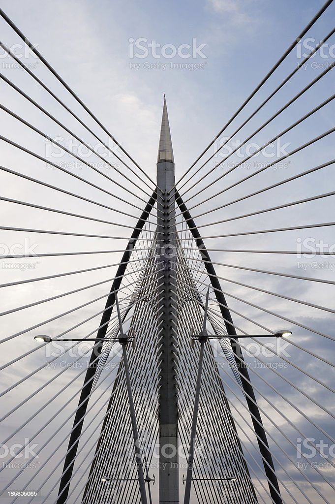 silver steel bridge stock photo
