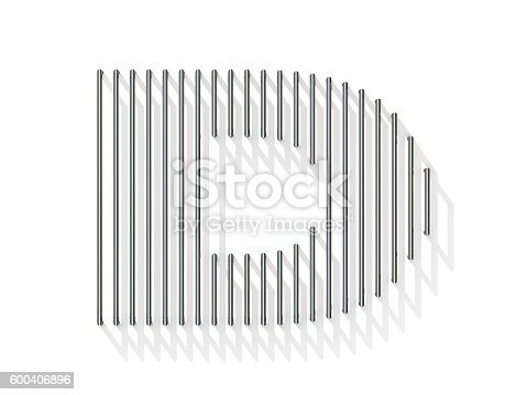 583978154 istock photo Silver, steel wire font. Letter D 600406896