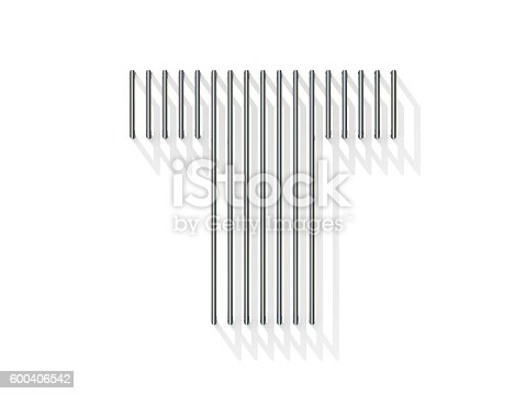 583978622 istock photo Silver, steel wire font. Letter T 600406542