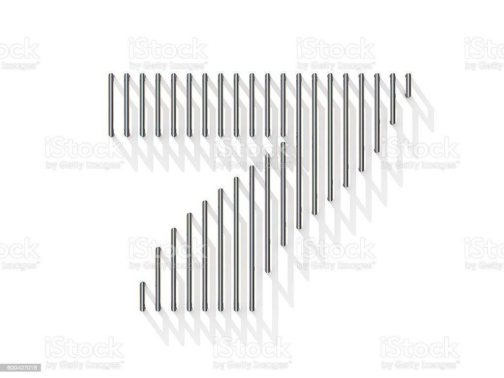 Silver, steel wire font. Number SEVEN 7 stock photo