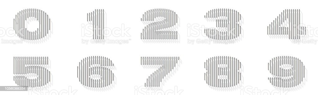 Silver, steel wire font Numbers with vertical shadows 3D stock photo