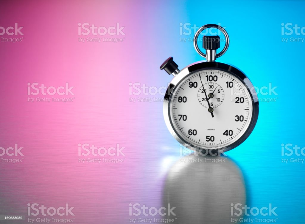 Silver Stopwatch Coloured Background royalty-free stock photo