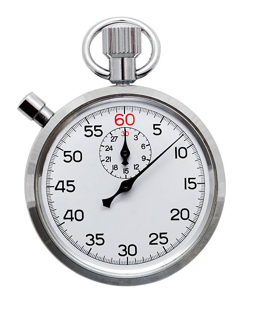 a silver stopwatch isolated on a white background - stopwatch stockfoto's en -beelden