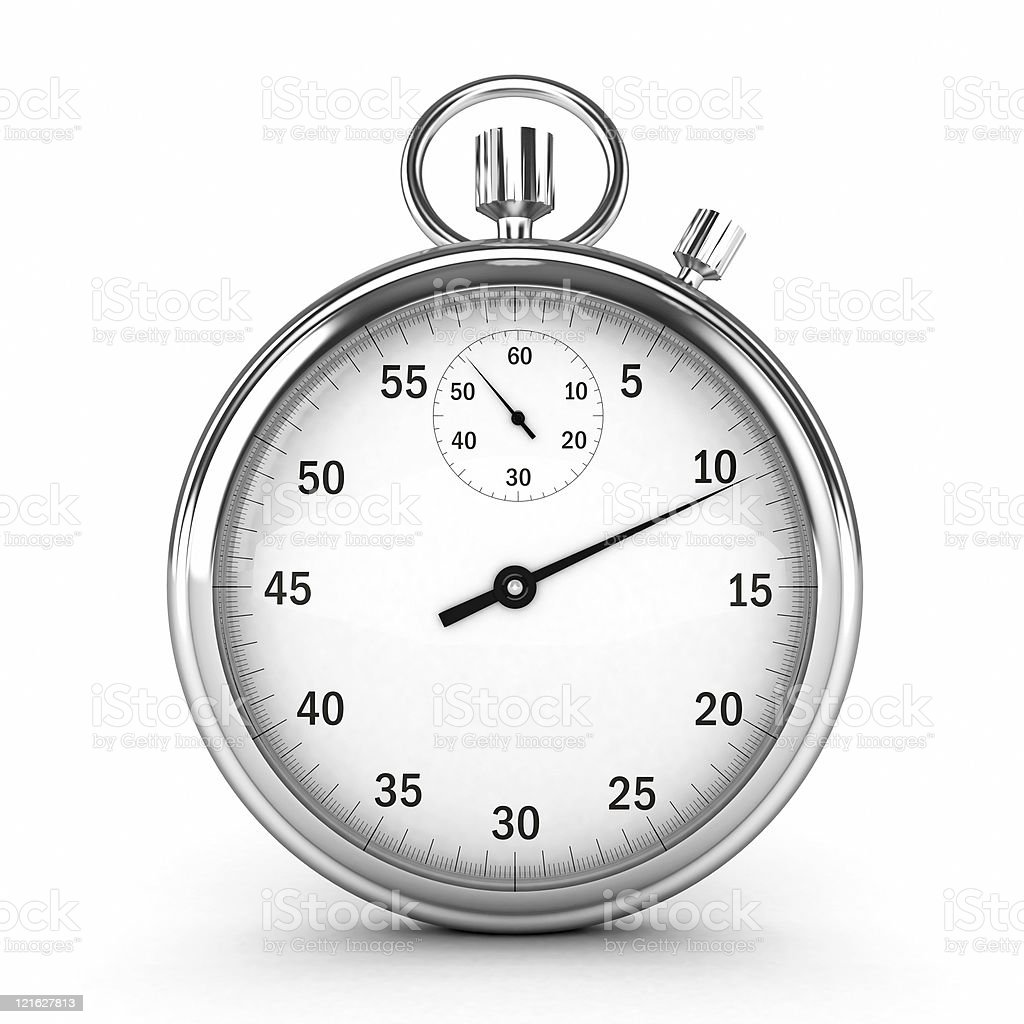 3D silver stopwatch on white background stock photo