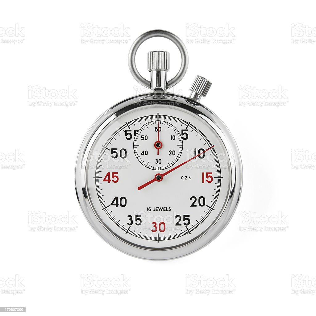 Silver stopwatch with black and red numbers stock photo