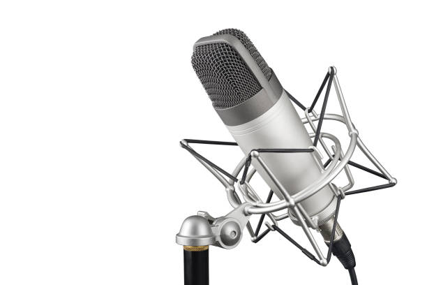Silver studio condenser microphone isolated on white background Silver studio condenser microphone in shock mount clip isolated on white background microphone stock pictures, royalty-free photos & images