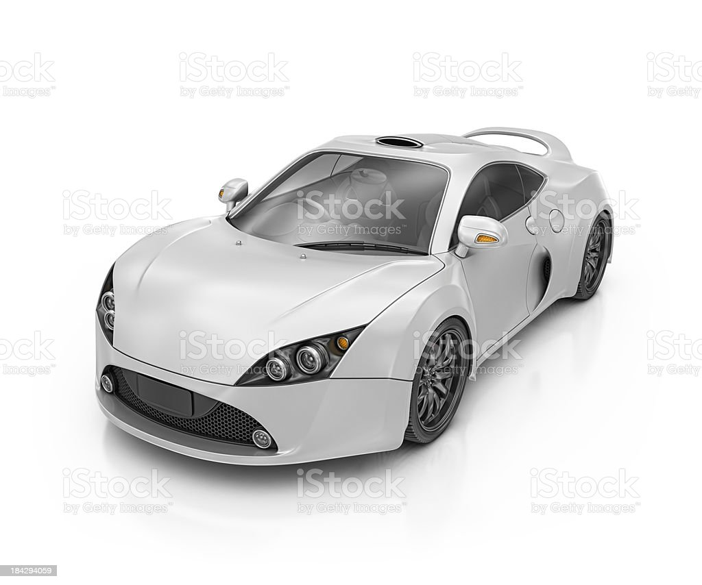 silver supercar stock photo