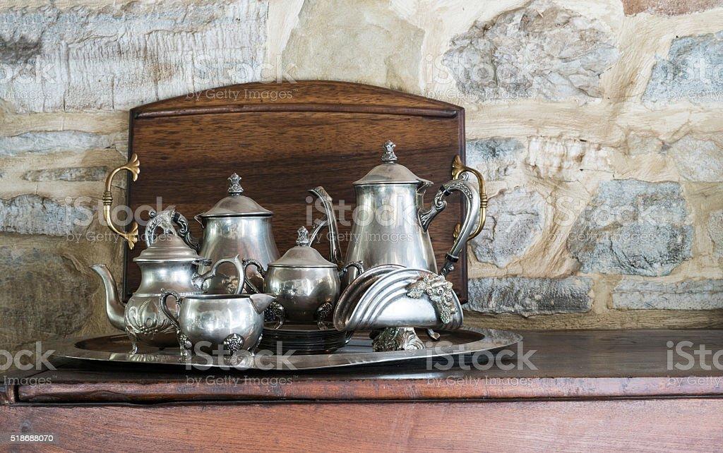 silver tea service, stock photo
