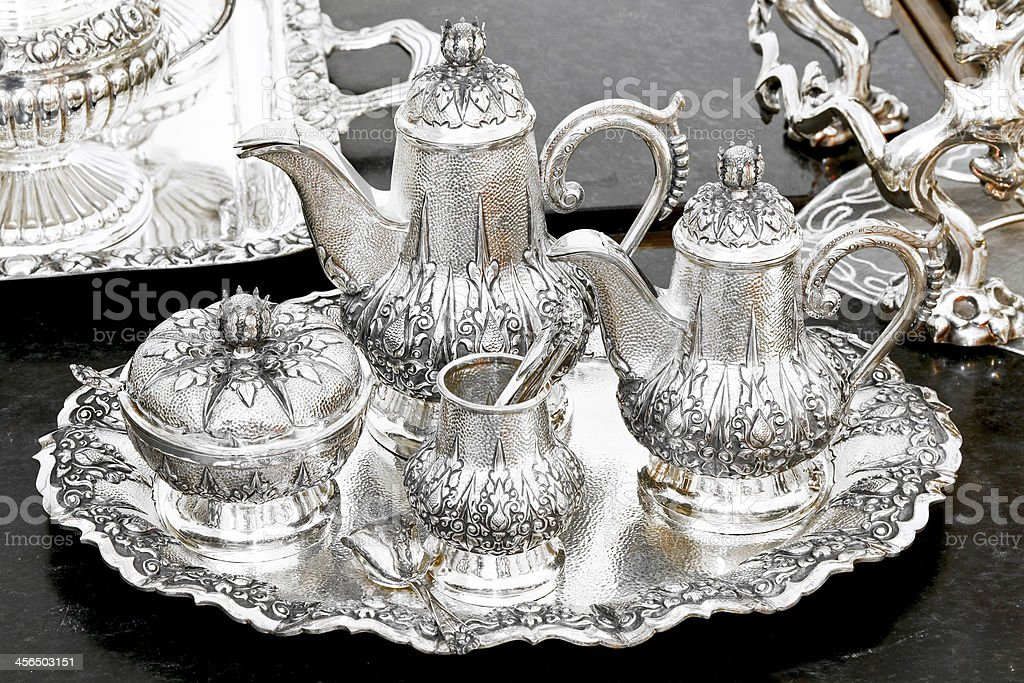 Silver tea set stock photo
