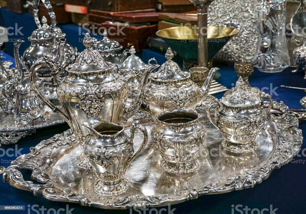 A Silver Tea Set stock photo