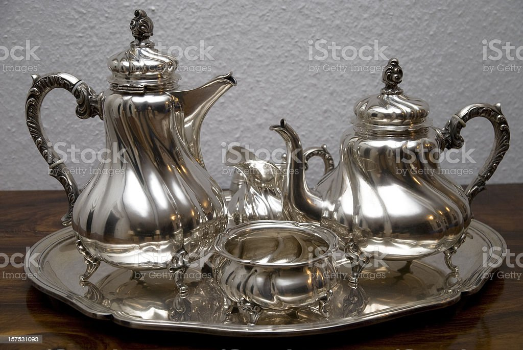 silver teapot - Silberne Teekanne stock photo