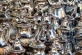 Silver teapots for sale in Souk, Morocco