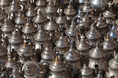 Silver teapots for sale in the souk of Essaouira.