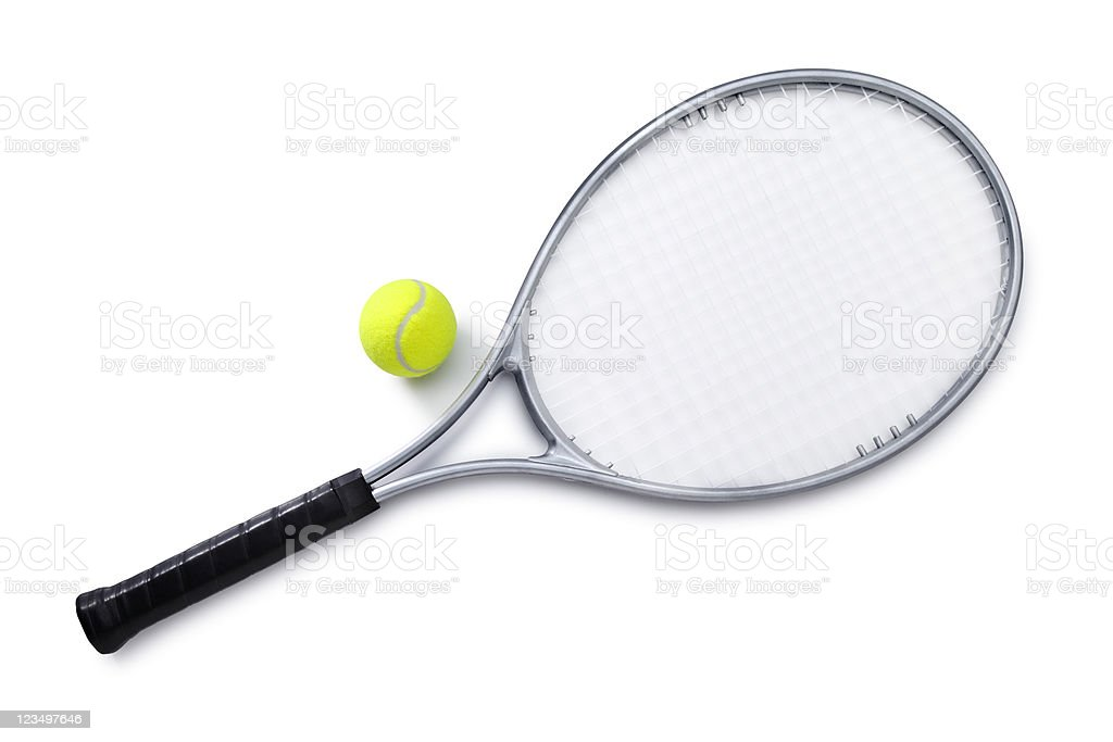 Silver Tennis Racket and Ball royalty-free stock photo
