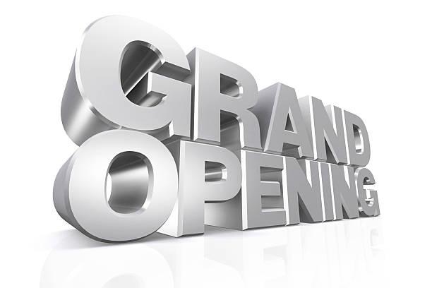 3 d plata texto de gran apertura. - gran inauguración fotografías e imágenes de stock