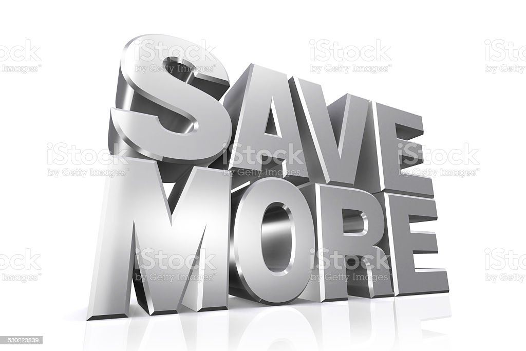 3D silver text save more. stock photo