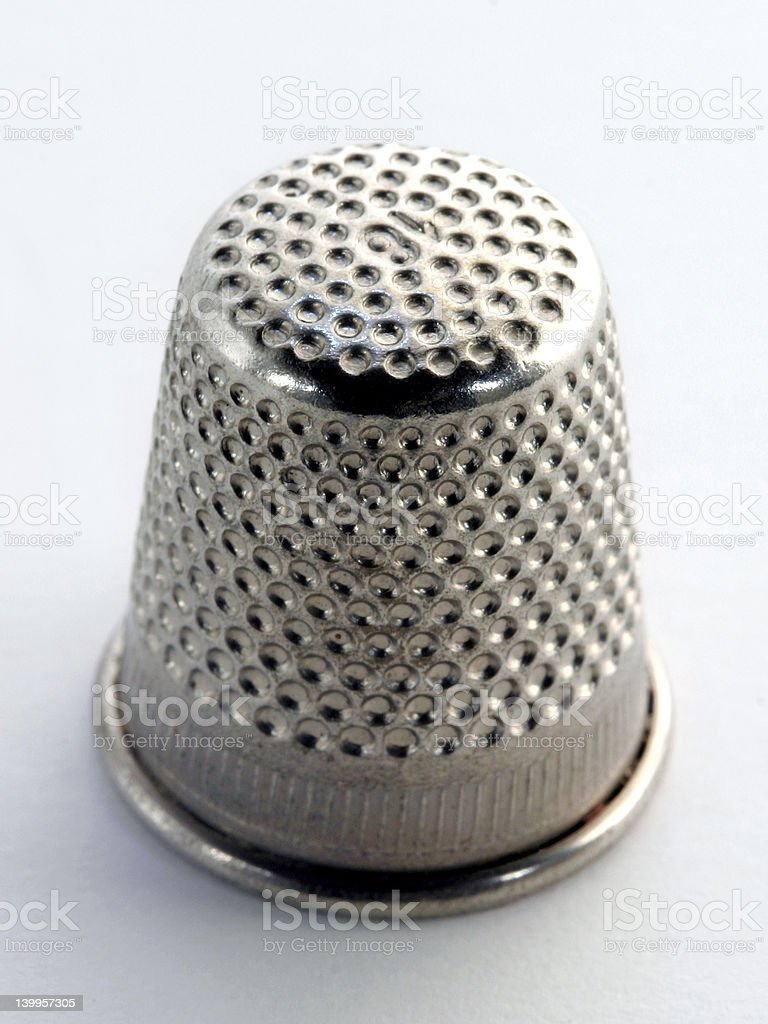 Silver thimble stock photo