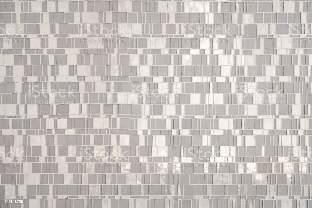 Silver tile wall background stock photo