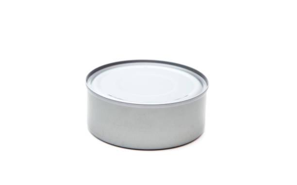 a silver tin containing food - tuna, salmon, or animal food - lata comida gato imagens e fotografias de stock