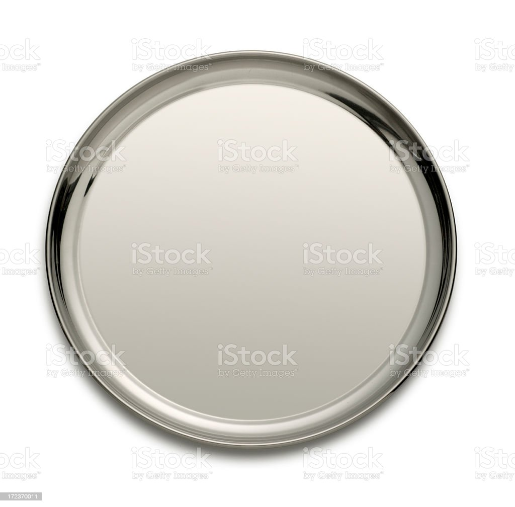 Silver tray isolated on a white backgtound stock photo