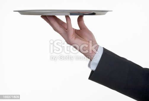 A butler serving with a silver tray your product