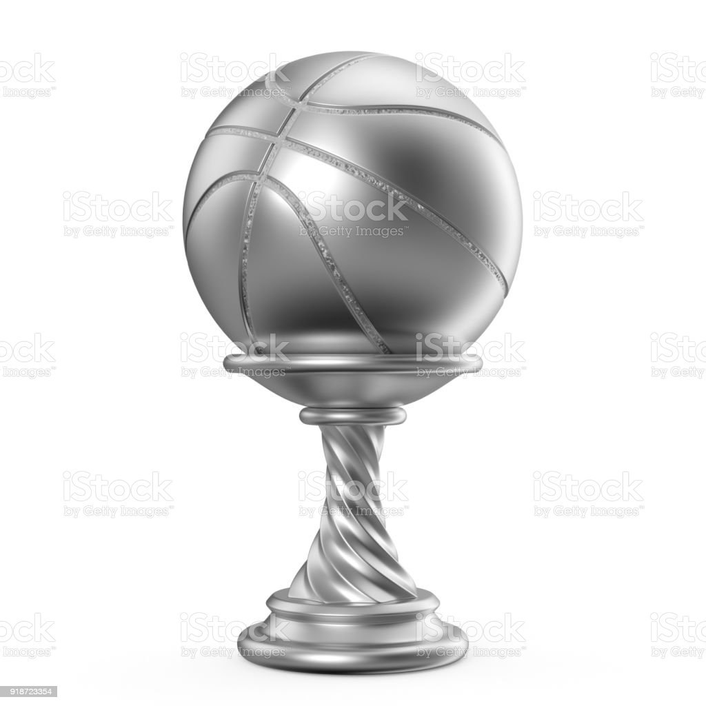 Silver trophy cup BASKETBALL 3D stock photo