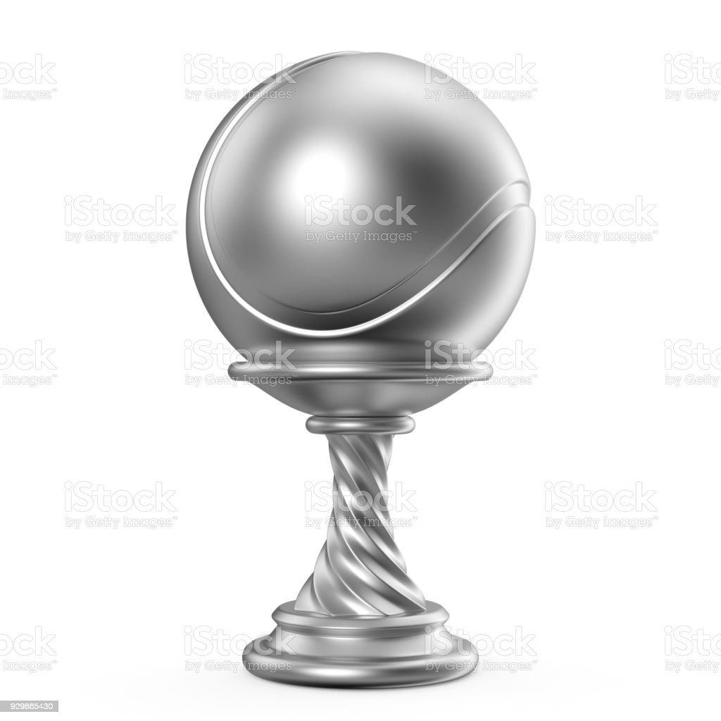 Silver trophy cup TENNIS 3D stock photo