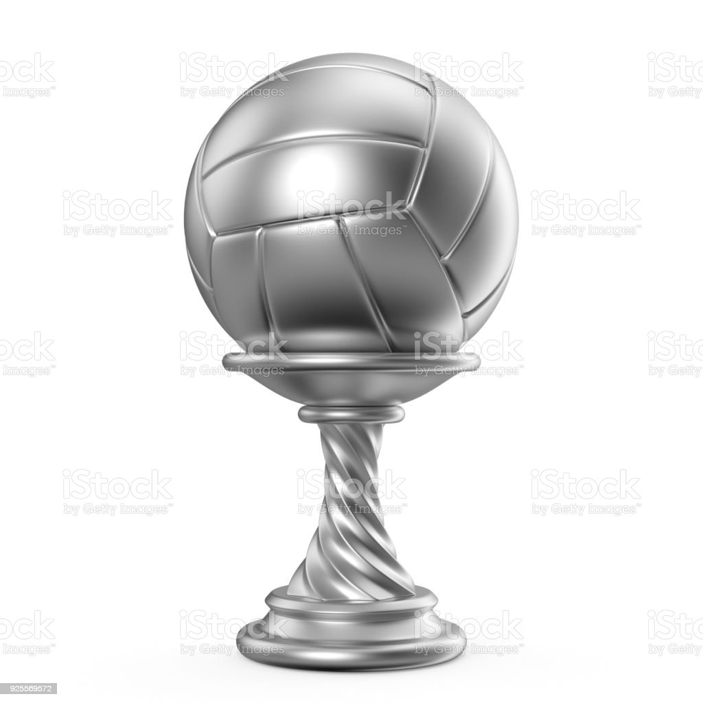 Silver trophy cup VOLLEYBALL 3D stock photo