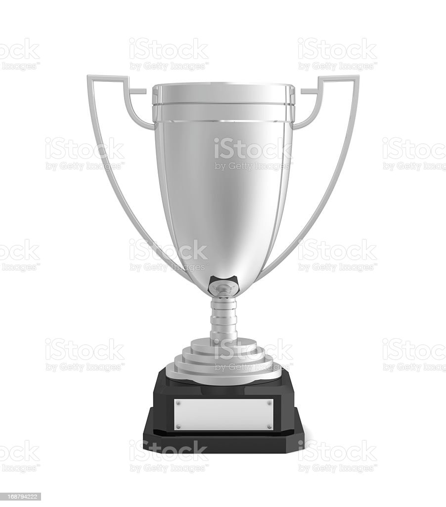 A silver trophy for second place stock photo