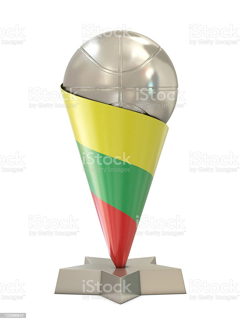 Silver trophy with basket ball, star and Lithuania flag royalty-free stock photo