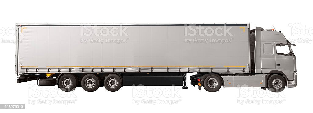 Silver Truck Silver Trailer (isolated) stock photo