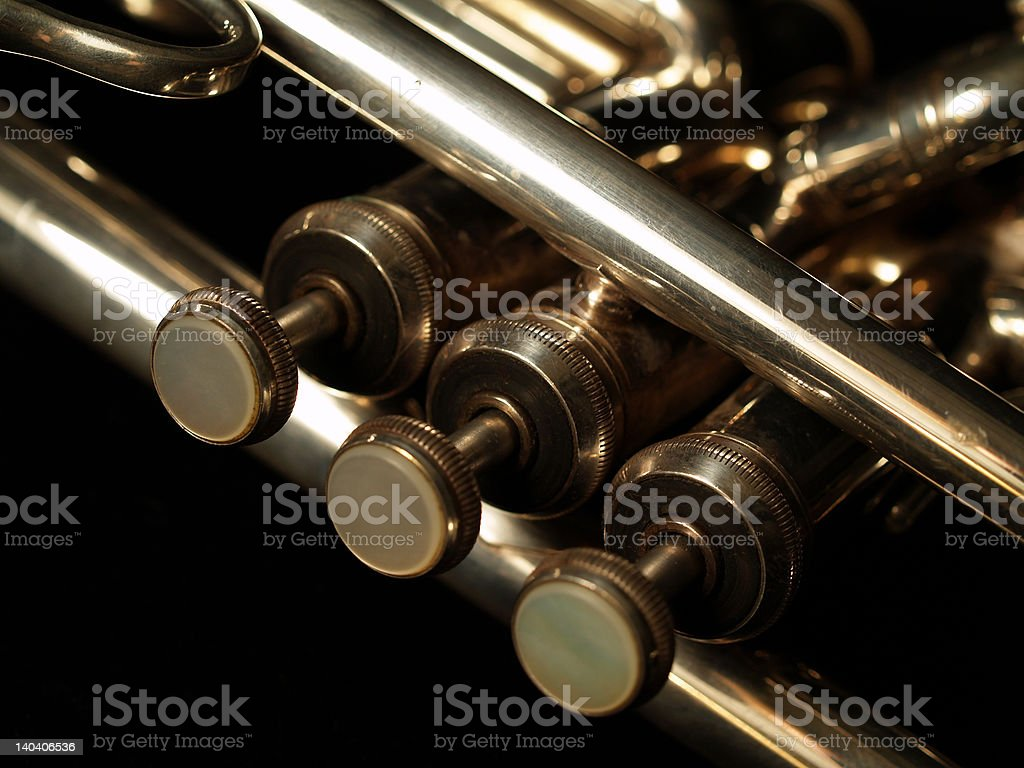 Silver trumpet 3 royalty-free stock photo