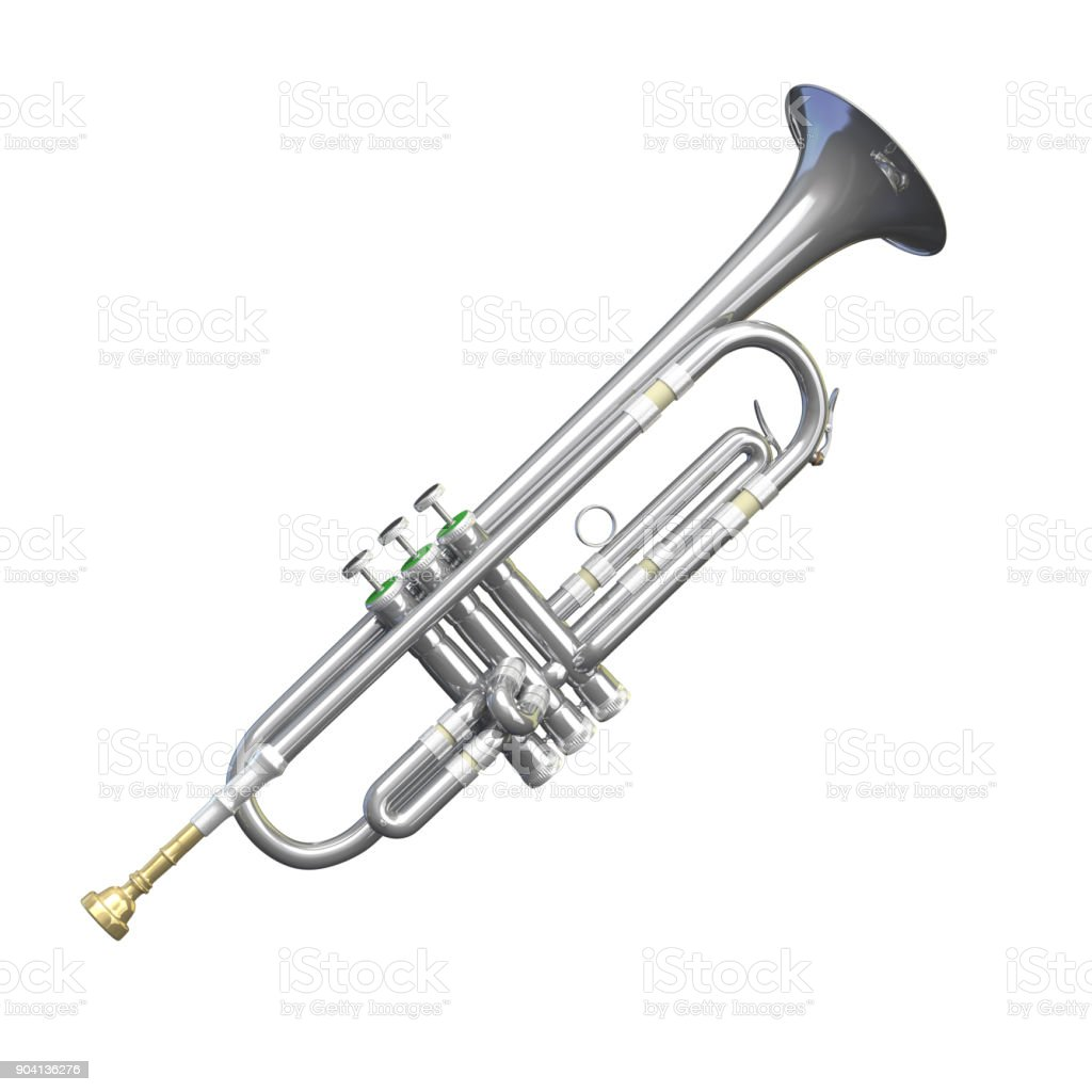 Silver Trumpet Isolated stock photo