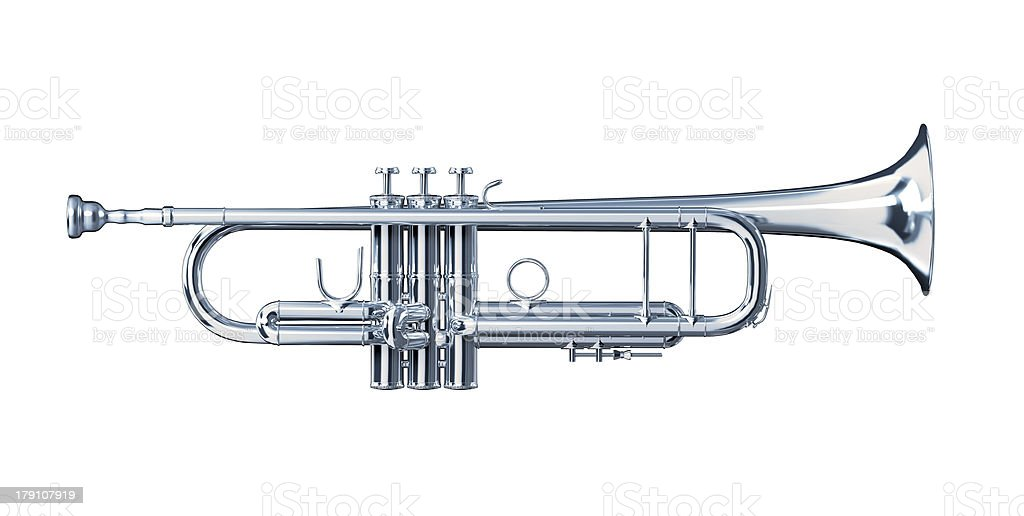 Silver trumpet viewed from a side. royalty-free stock photo