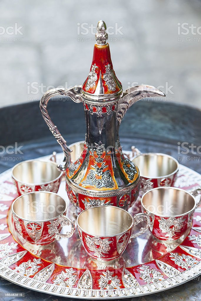 Silver Turkish coffee service. royalty-free stock photo