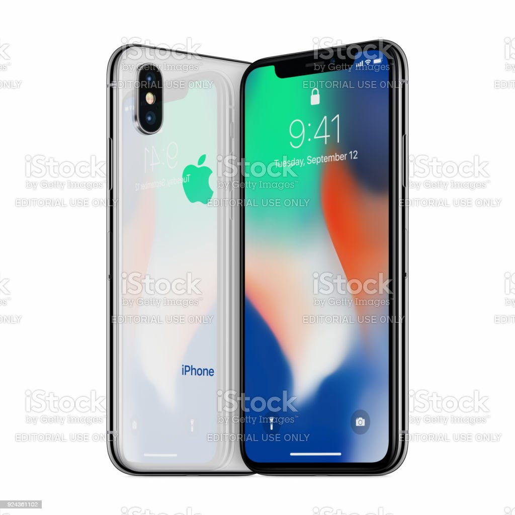 Silver turned Apple iPhone X mockup front side and back side facing each other stock photo