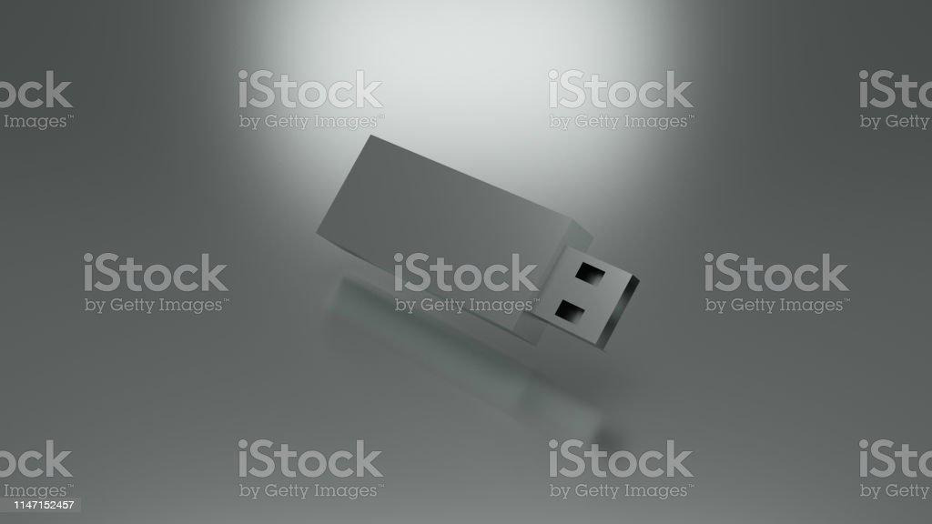 Silver usb flash device. 3d illustration render