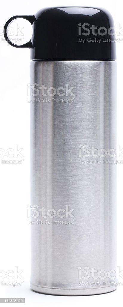 Silver vacuum flask stock photo