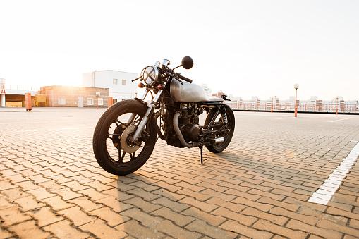 Silver vintage custom motorcycle cafe racer