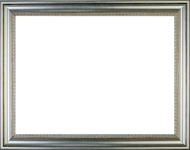 Silver vintage picture frame stock photo
