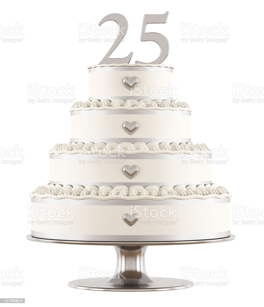 Silver wedding cake stock photo