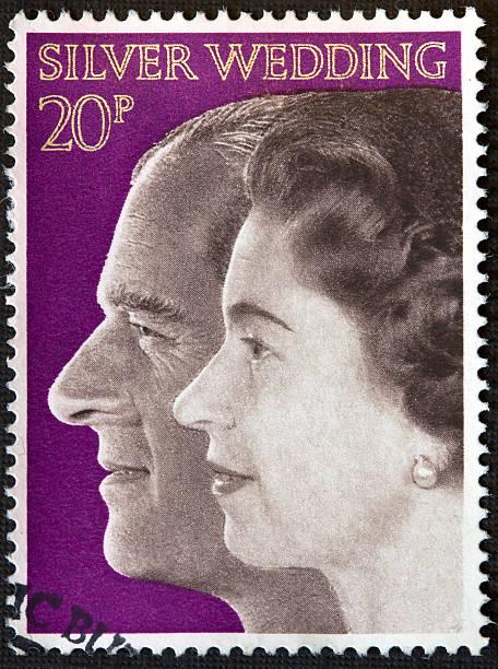 Silver Wedding Stamp circa 1972 stock photo