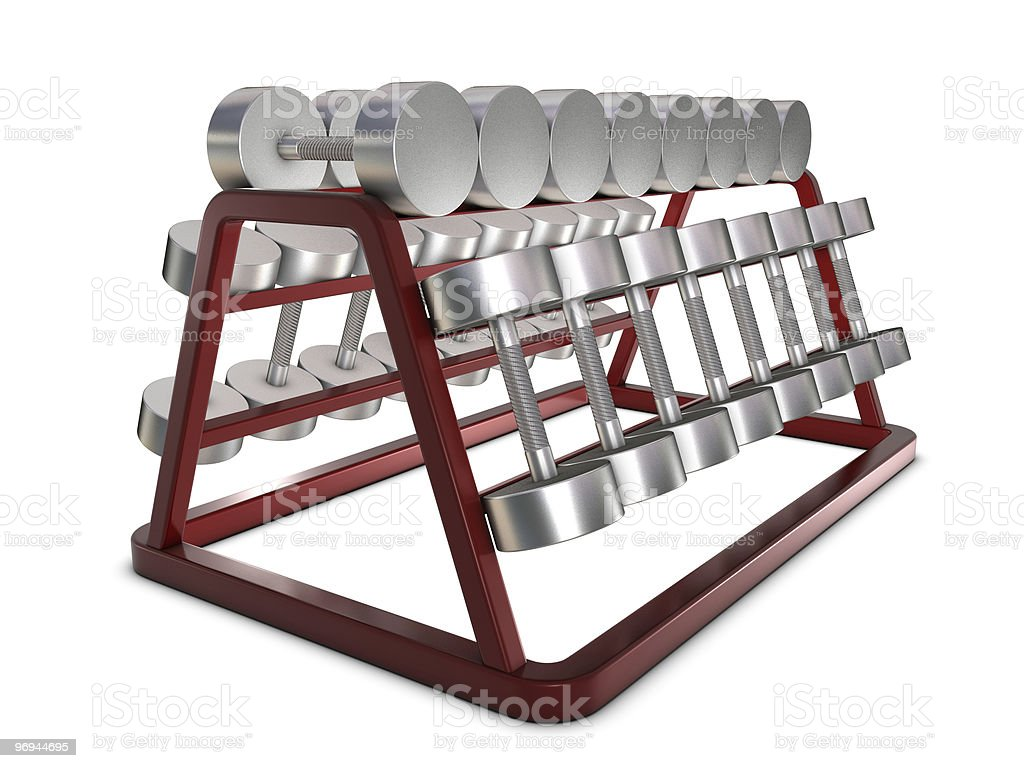 Silver weights on holder royalty-free stock photo