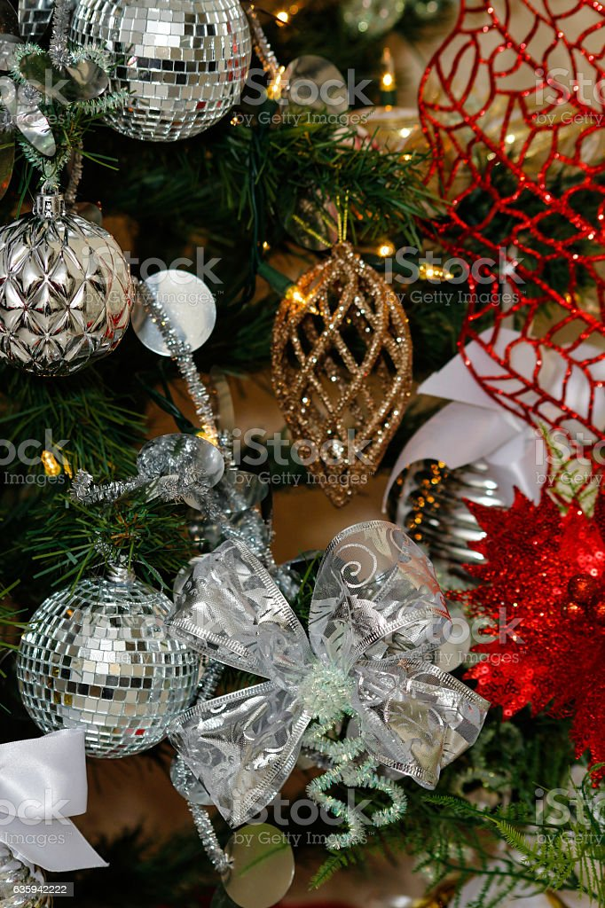 Silver White And Red Christmas Tree Decorations Stock Photo Download Image Now Istock
