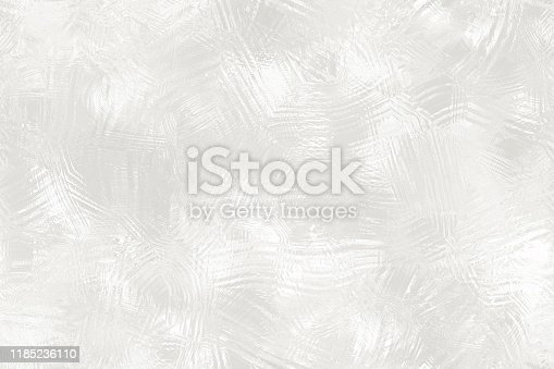 Silver White Foil Scratched Ice Frosted Glass Shiny Winter Christmas Background Abstract Dirty Stucco Wall Frost Texture Digitally Generated Image Design template for presentation, flyer, card, poster, brochure, banner Pattern Seamless