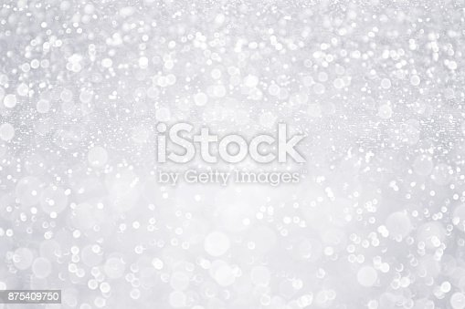 istock Silver White Glitter Background for Bridal, Winter or Birthday Party Sparkle 875409750