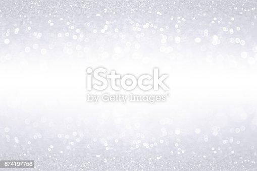 istock Silver White Glitter Border Banner Background 874197758