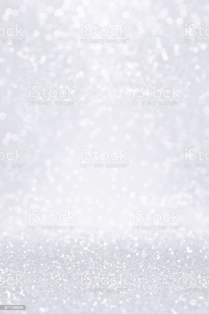 Silver White Glitter Snow Background for Winter or Christmas Coupon stock photo